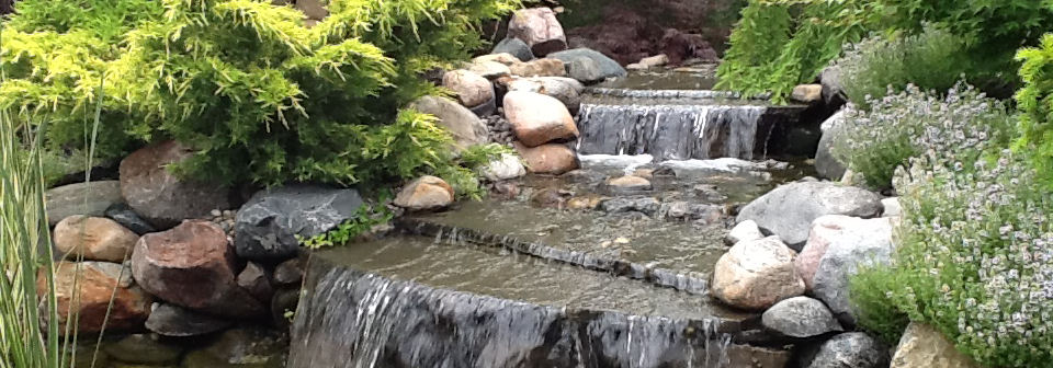 Waterfall feature with natural stone from Green Stone